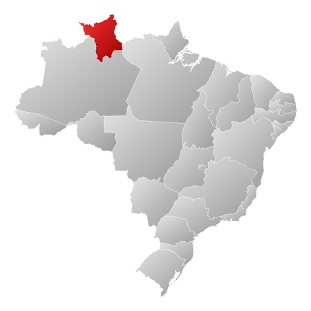 Political map of Brazil with the several states where Roramia is highlighted. Vector