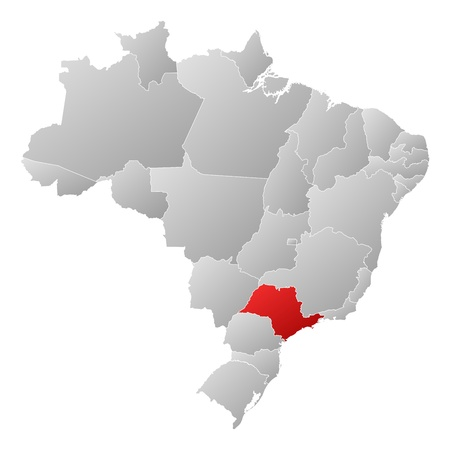 Political map of Brazil with the several states where S�o Paulo is highlighted. Vector