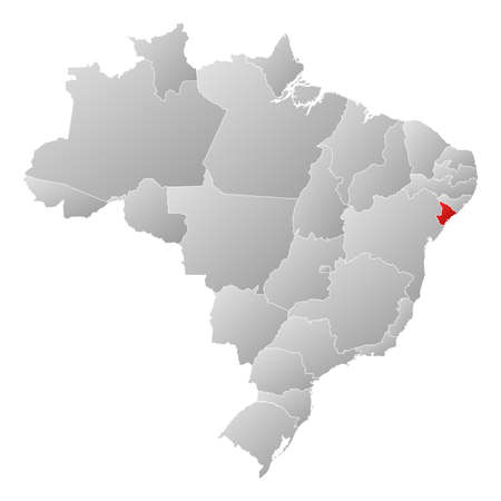 Political map of Brazil with the several states where Sergipe is highlighted. Vector