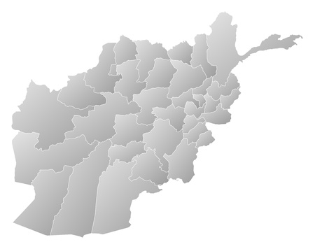 Political map of Afghanistan with the several provinces. Vector