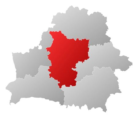 Political map of Belarus with the several provinces where Minsk is highlighted. Vector