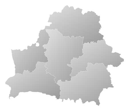 Political map of Belarus with the several provinces. Vector