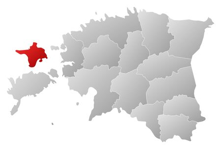 counties: Political map of Estonia with the several counties where Hiiu is highlighted.