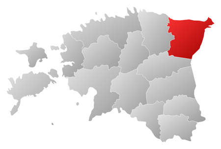 Political map of Estonia with the several counties where HIda-Viru is highlighted. Vector
