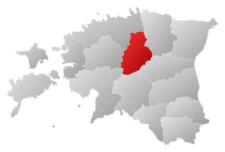 Political map of Estonia with the several counties where J�rva is highlighted. Vector