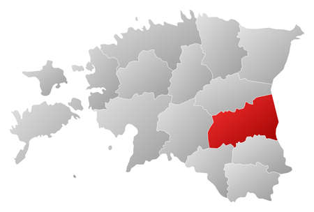 Political map of Estonia with the several counties where Tartu is highlighted. Vector