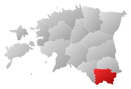 Political map of Estonia with the several counties where Võru is highlighted. Vector