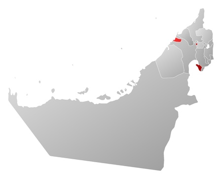 Political map of the United Arab Emirates with the several emirates where Ajman is highlighted. Stock Vector - 14112432