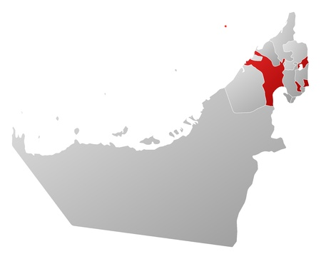 Political map of the United Arab Emirates with the several emirates where Sharjah is highlighted. Vector