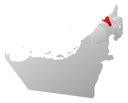 southwest asia: Political map of the United Arab Emirates with the several emirates where Umm al-Quwain is highlighted.
