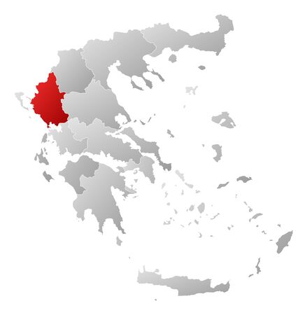 Political map of Greece with the several states where Epirus is highlighted.