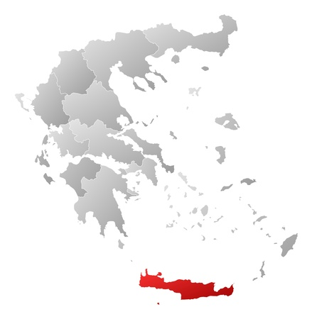 land mark: Mapa pol�tico de Grecia con los diversos estados donde se destaca Creta. Vectores