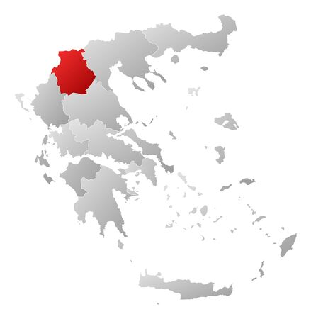 tone shading: Political map of Greece with the several states where West Macedonia is highlighted.