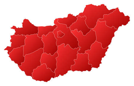 Political map of Hungary with the several counties.