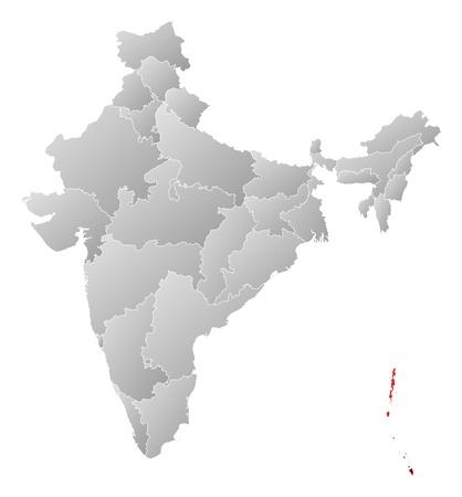 land mark: Mapa pol�tico de la India con los varios estados donde las islas Andaman y Nicobar est�n resaltados.