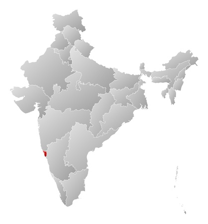 Political map of India with the several states where Goa is highlighted. Stock Vector - 14199879