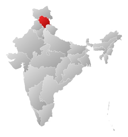 himachal pradesh: Political map of India with the several states where Himachal Pradesh is highlighted.
