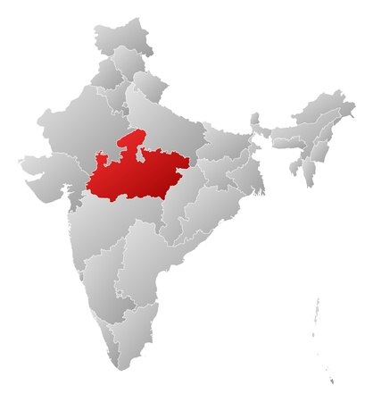 madhya pradesh: Political map of India with the several states where Madhya Pradesh is highlighted.