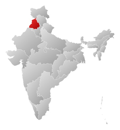 highlighted: Political map of India with the several states where Punjab is highlighted.