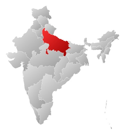 uttar pradesh: Political map of India with the several states where Uttar Pradesh is highlighted.