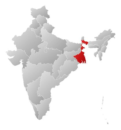 Political map of India with the several states where West Bengal is highlighted. Stock Vector - 14199851