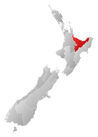 Political map of New Zealand with the several regions where Bay of Plenty is highlighted. Stock Vector - 14199860