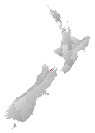 Political map of New Zealand with the several regions where Nelson is highlighted. Stock Vector - 14200018