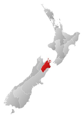Political map of New Zealand with the several regions where Tasman is highlighted. Stock Vector - 14199865