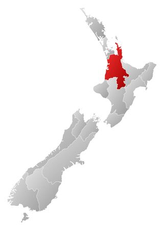 Political map of New Zealand with the several regions where Waikato is highlighted.