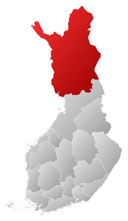 lapland: Political map of Finland with the several regions where Lapland is highlighted. Illustration