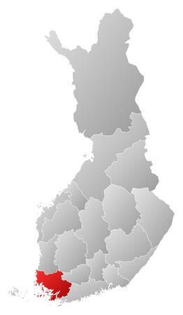 proper: Mappa politica della Finlandia con le varie regioni in cui si evidenzia la Finlandia Proper.