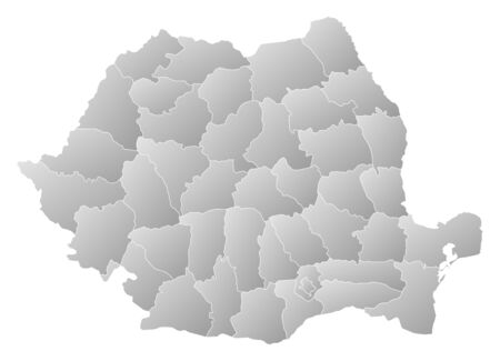 Political map of Romania with the several counties. Stock Vector - 14244478