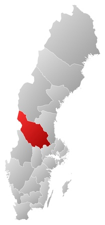 Political map of Sweden with the several provinces where Dalarna County is highlighted. Stock Vector - 14244548