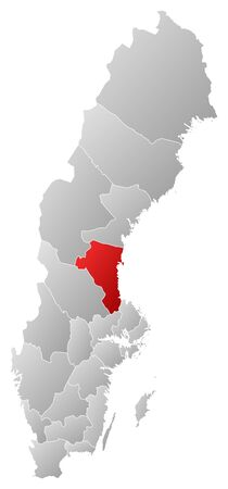 Political map of Sweden with the several provinces where County is highlighted.