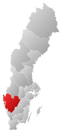 sverige: Political map of Sweden with the several provinces where Vaestra Goetaland County is highlighted.