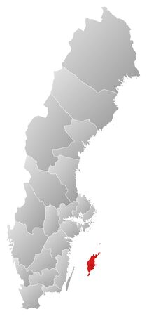 laen: Political map of Sweden with the several provinces where Gotland County is highlighted. Illustration
