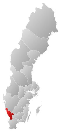 Political map of Sweden with the several provinces where Halland County is highlighted. Stock Vector - 14244635