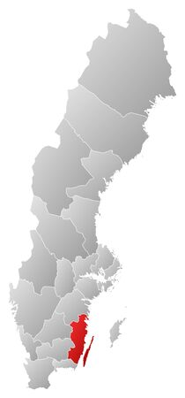 Political map of Sweden with the several provinces where Kalmar County is highlighted. Stock Vector - 14246040