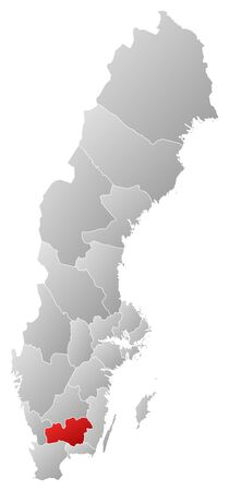 Political map of Sweden with the several provinces where Kronoberg County is highlighted. Stock Vector - 14244492