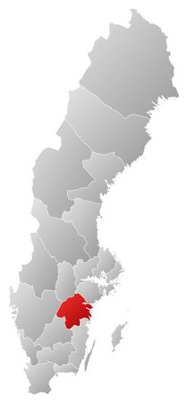sverige: Political map of Sweden with the several provinces where Ostergoetland County is highlighted.