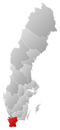 Political map of Sweden with the several provinces where Skane County is highlighted.