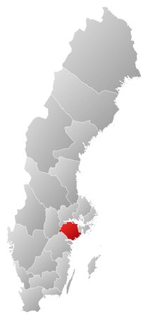 laen: Political map of Sweden with the several provinces where S�dermanland County is highlighted.