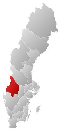 laen: Political map of Sweden with the several provinces where land County is highlighted.