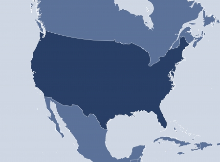 united states map: Political map of the United States with the several states.