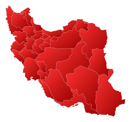 western asia: Political map of Iran with the several provinces.