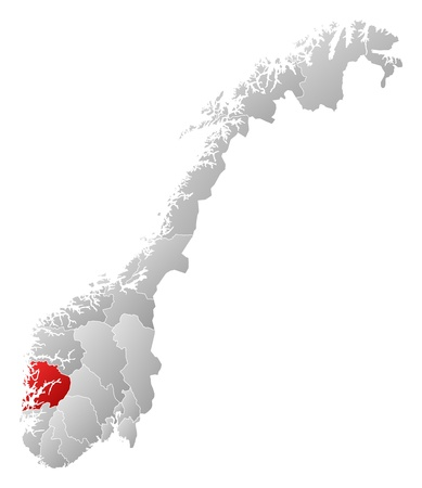 emphasize: Political map of Norway with the several counties where Hordaland is highlighted.
