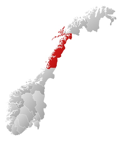 Political map of Norway with the several counties where Nordland is highlighted. Vector