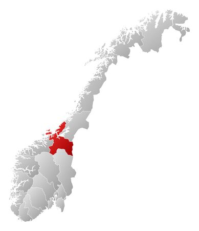 counties: Political map of Norway with the several counties where S�r-Tr�ndelag is highlighted. Illustration
