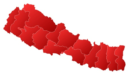 Political map of Nepal with the several zones. Vector