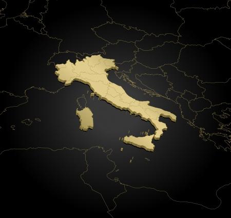 La mappa politica d'Italia con le varie regioni.